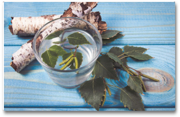 Plakat - A glass of birch juice on wooden background