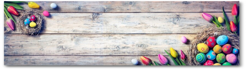 Plakat - Tulips And Painted Eggs In Nests On Vintage Plank