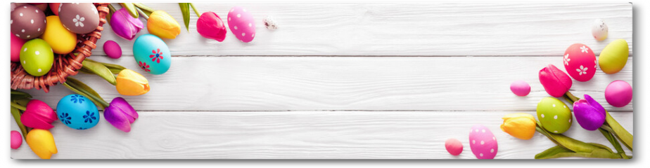 Plakat - Easter Eggs with Flowers on White Wooden Background