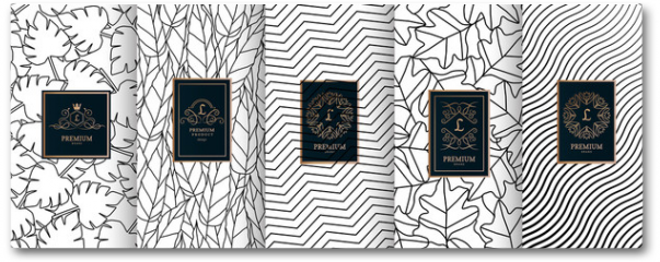 Plakat - Collection of design elements,labels,icon,frames, for packaging,design of luxury products.for perfume,soap,wine, lotion.Made with golden foil.Isolated on geometric background.vector illustration