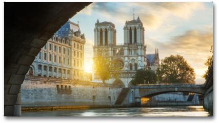 Plakat - Notre dame de Paris and Seine river in Paris, France