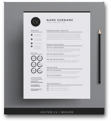 Plakat - Elegant CV / resume template minimalist black and white vector