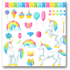 Plakat - Collection of unicorns and fantasy decorative objects
