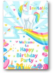 Plakat - Happy birthday party invitation with unicorn and fantasy items