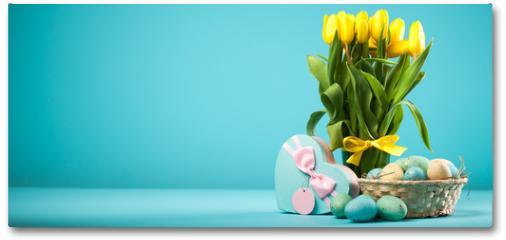 Plakat - Yellow tulips on blue background
