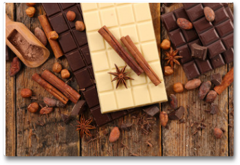 Plakat - chocolate bar, coffee bean and spice