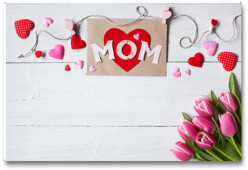 Plakat - Background for congratulations for Mother's Day with greeting card, hearts and pink tulips