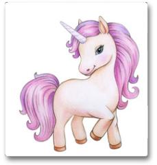 Plakat -  Cute unicorn cartoon, isolated on white.
