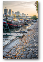 Plakat - Houseboats on a paved bank of the river Seine, Paris France