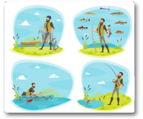 Plakat - Fishing sport icon of fisherman with fish