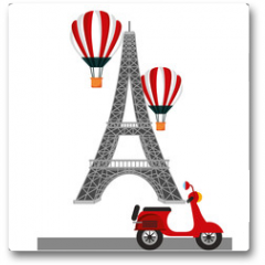 Plakat - tower eiffel paris scooter and hot air balloons vector illustration