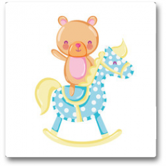 Plakat - bear teddy ride rocking horse