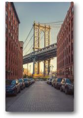 Plakat - View on Manhattan bridge from washington street in Brooklyn