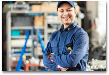Plakat - Smiling mechanic portrait