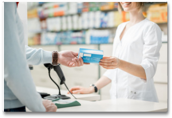 Plakat - Giving madication at the pharmacy counter