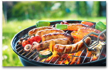 Plakat - Grilled sausage on the flaming grill