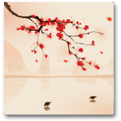 Plakat - oriental style painting, plum blossom in spring