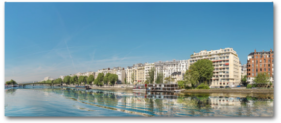 Plakat - Panoramic image of Paris modern architecture in Paris with and Seine river