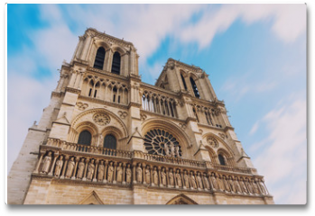Plakat - Notre Dame de Paris, amazing medieval cathedral church, one of the most famous tourist attraction in France, long exposure shot