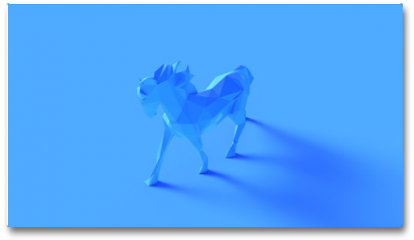 Plakat - Blue Polygon Horse 3d illustration 3d rendering