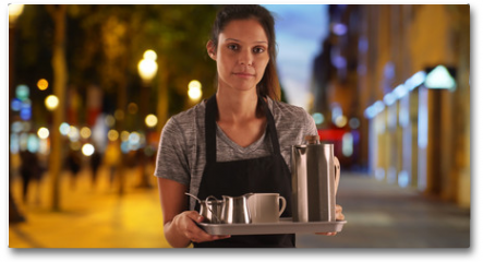 Plakat - Pretty waitress on the Champs-Elysees carrying tray with coffee beverages