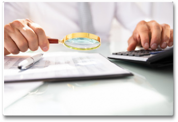 Plakat - Businessman Analyzing Financial Report With Magnifying Glass