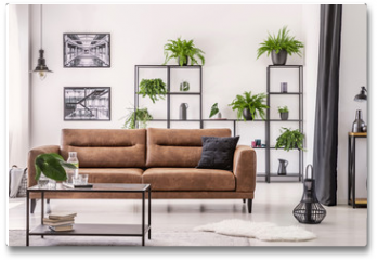 Plakat - Table in front of leather sofa in white apartment interior with lamp, posters and plants. Real photo