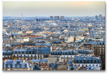 Plakat - Beautiful Paris afternoon cityscape seen from Montmartre