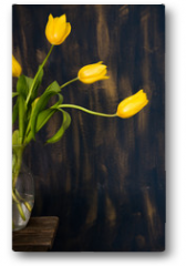 Plakat - Yellow Tulips in glass vase on Blue background