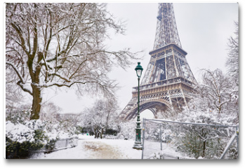 Plakat - Scenic view to the Eiffel tower on a day with heavy snow