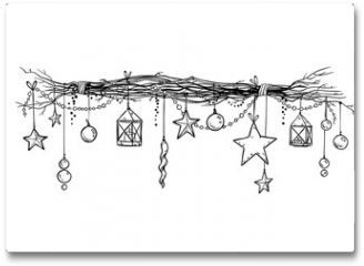 Plakat - Christmas and New Year decoration. Festive garland vector sketch.