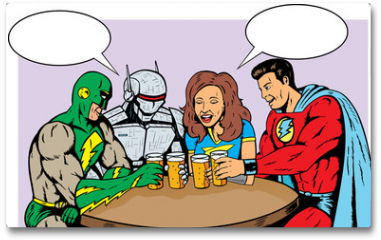 Plakat - Superheroes having beer, celebrating good times.