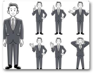 Plakat - 若手ビジネスマンのポーズ_7種類のセット モノクローム グレースケール
