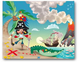 Plakat - Pirate on the isle. Funny cartoon and vector scene.