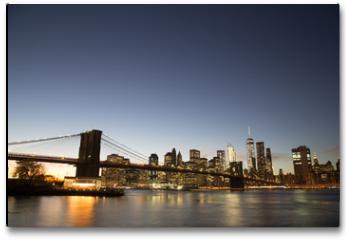 Plakat - New York skyline with Brooklyn Bridge