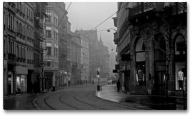 Plakat - old town on misty morning