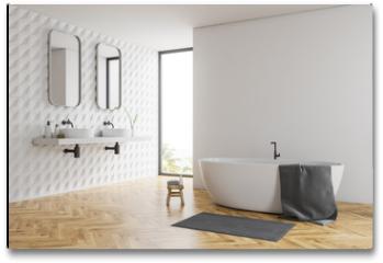 Plakat - White bathroom corner, tub and sinks