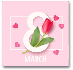Plakat - Womens Day 8 March design template. Decorative number eight with eed tulips. Vector illustration