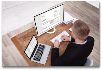 Plakat - Smiling Businessman Checking Invoice On Computer