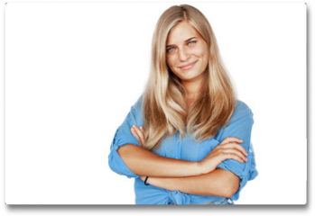 Plakat - Young beautiful girl woman blond with long hair and blue eyes in a blue shirt isolated white background