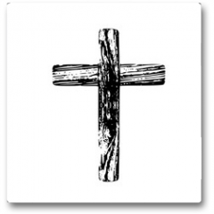 Plakat - Wooden cross on a white background