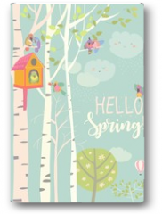 Plakat - Birch tree and birdhouse with little birds in spring forest