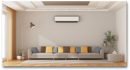 Plakat - Modern living room with sofa and air conditioner