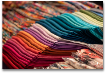 Plakat - Different colors silk fabric