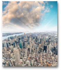 Plakat - Midtown Manhattan aerial skyline at sunset, New York