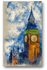 Plakat - Watercolor painting of Big Ben at twilight witth lights making architecture glow in the coming darkness