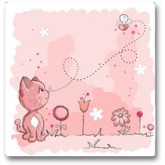 Plakat - Kitty and butterfly