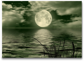 Plakat - Full moon image with water