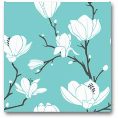 Plakat - blue magnolia pattern
