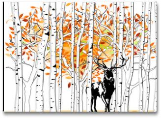 Plakat - Hirsch im Wald